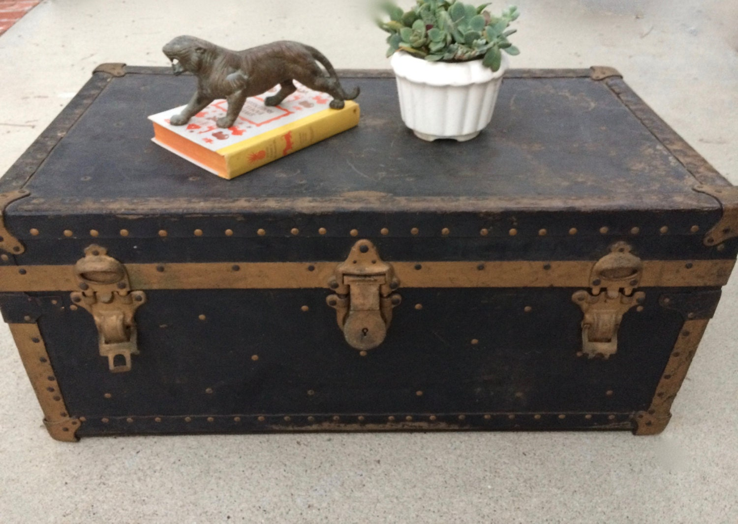 Antique Steamer Trunk Coffee Table Rustic Steampunk Trunk