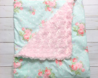 Girls Crib Blanket Toddler Bed Blanket Baby Blankets Pink Shabby Chic Baby Blanket Floral Baby Blanket Pink Baby Blanket by BizyBelle