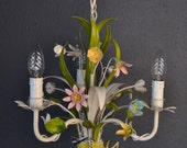 Colourful Italian tole Flower Chandelier