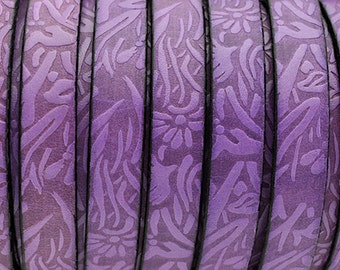 10MM Floral Embossed Leather Cord - Purple - High Quality Leather Cord - Qty. 2ft/24""