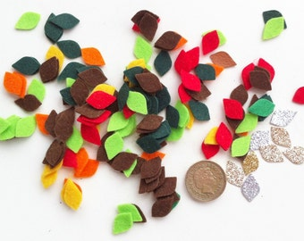75 tiny die cut felt leaves.For sewing projects,bunting,cushion,applique,garlands,cardmaking,scrapbooking,felt flower headband,hair clips