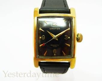 Croton Aquamatic 360EL Men's Watch 1940's Gold Filled Case Swiss Made 17 Jewel Manual Movement