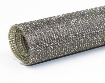 Gray - Glass Rhinestones Hot fix or  Self Adhesive Applique  / Sticker Sheet 2mm ( SS8 )