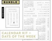 Bundle: Calendar Clear Stamp Kit and Matching Days of Week for your Journal or Planner   Special Bundled Sale Price