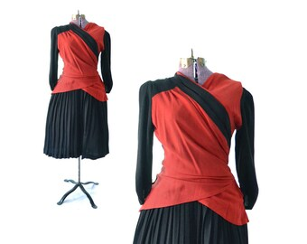 1930s Dress, 30s Dress, 1940s Dress, 40s Dress, Red 30s Dress, Red 1930s Dress, Red and Black Dress, Vintage Dress, Vintage Clothing