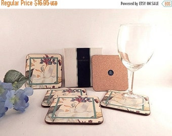 Cork Back Coasters Pimpernel Barware Williamsburg Magnolia Set of Five Floral Beverage Serving Mats Vintage Home Decor Tableware