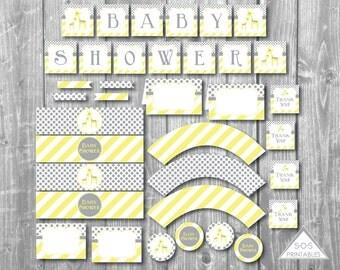 Giraffe Baby Shower Printables, Gender Neutral Baby Shower, Yellow Baby Shower Decorations, Party Printables, Shower Décor, Instant Download