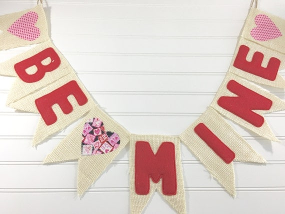 "Valentine ""BE MINE"" Made-To-Order Burlap, Felt, & Fabric Pendant Bunting in Red, Pink, Black, Cream - Holiday, Party, Decor, Photography"