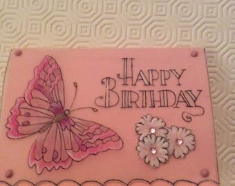 Card - Parchment Craft, Pergamano, handmade, butterfly,  flowers, blank , birthday, thank you, get well, congratulations, anniversary,