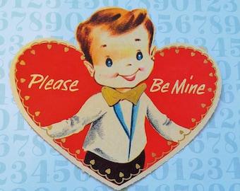 Please Be Mine Boy Vintage Valentine's Day Card 1950's