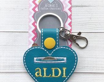 Aldi Keychain - Aldi Key Chain - Quarter Keeper - Aldi Quarter Keeper - Aldi - Heart Keychain - Heart Key Chain -Shopping Cart Keychain