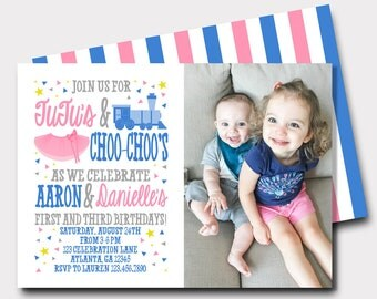 Tutus and Choo Choos Birthday Invitation   Joint Birthday Invitation   Tutu Invitation   Train Invitation   Brother Sister Birthday