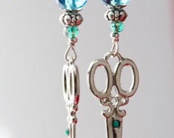 Scissor charm Earrings silver blue green crystals
