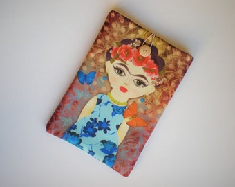 iPad mini case, Kindle sleeve, mini Tablet case, iPad Air sleeve, Frida Kahlo, Galaxy Tab sleeve, eReader case, Kobo Aura, Kindle Voyage