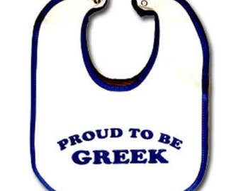 "Ancient Greek ""Proud to Be Greek"" Infant Bib, Made In Greece"
