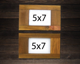 5 X 7 frames SET OF 2 -  Elongated Rustic Frames made of reclaimed wood