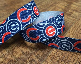 5 yards 7/8 Chicago Cubs ribbon. cubs ribbon, baseball ribbon, Chicago ribbon, grosgrain ribbon, craft, crafting, sewing, scrapbook,