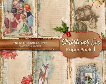 CHRISTMAS EVE_PP1- Printable Junk Journal Kit. Vintage coffee stained paper with lace, for Scrapbooking, Journals, Cards, Mixed Media crafts