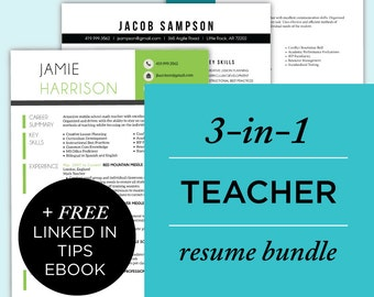 Resume Bundle - Resume Package, Teacher Resumes CV Bundle, Cover Letter, Professional, Modern, Creative | Instant Download