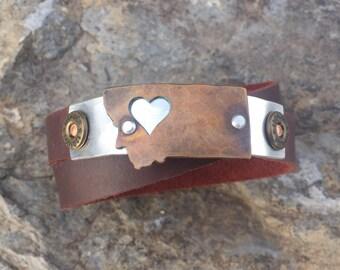 NW Montana 12 gauge double leather wrap bracelet