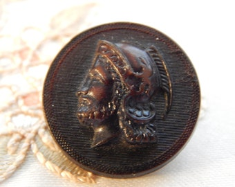 Soldiers Profile - Pressed Horn Material Antique Button
