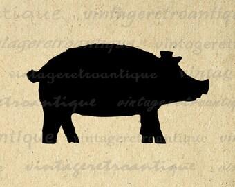 Printable Pig Silhouette Image Digital Pig Graphic Farm Animal Shape Pig Download for Transfers Pillows Tea Towels etc Print 300dpi No.4695