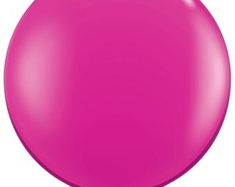 "Bright Pink Balloon, Giant Pink 36"" Latex Balloon, First Birthday Decorations, Baby Shower, Bridal Shower, Wedding Photo Prop, Hot Pink"