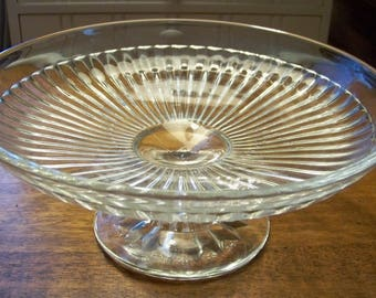 Clear Glass Pedestal Pastry Stand Made In Czechoslovakia