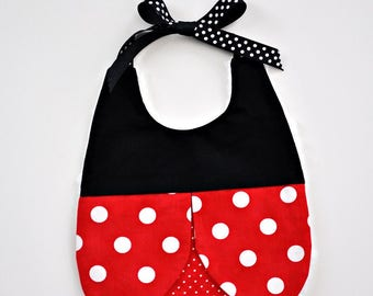 Ladybug Baby Bib, Handmade Baby Girl Bib, Baby Shower Gift, Polka Dot Ladybug Bib, Baby Girl Bib, Red and Black, Baby Girl Gift, RTS