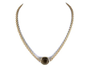 Smokey Quartz Gemstone Gold Chain Choker Laila Necklace
