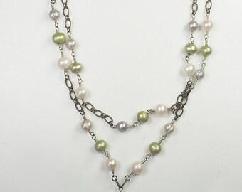 Merveilleux en argent sterling et collier chaîne double perle multicolore