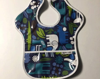 Zoo Animals Toddler Laminate Pocket Bib with Red Terry Backing