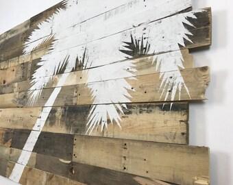 "HUGE Beach Decor Palm Tree Rt Lean 70"" x 42"" Natural Color"