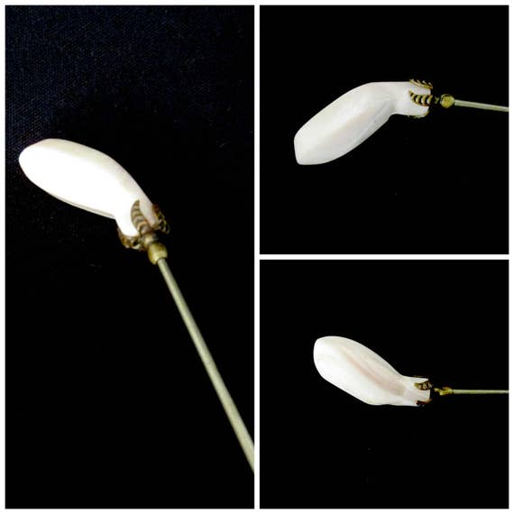 Antique Hat Pin, Victorian Hatpin, Alabaster Hat Pin, Alabaster Stick Pin, 9 Inches Long