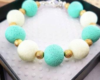 Mint green polymer clay jewelry, Polymer clay bracelet, Glow in the dark jewelry, Polymer jewlery, Polymer beads, Mint jewelry, Summer style