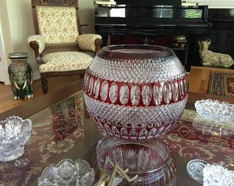 Waterford Colleen Large round crystal bowl 60th Anniversary Mint Ruby Red