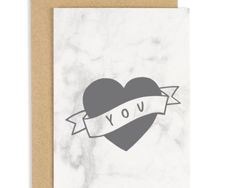 SALE: Love you Tattoo Marble Card - Anniversary Card - Valentines Card - CC204