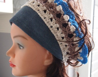 Denim and crochet headband, headband, hairband, haircover, headcover, crochet headcover, denim headcover, unique headcover, stylish headband