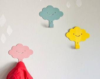 3 Cute Smily Clouds Children's Wall Hooks / Rainy Nursery Wall hangers / Kid's Towel Racks / Kids Room hooks / Nursery Wall Decor