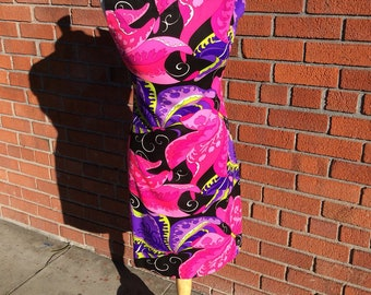 1960's vintage gogo dress / novelty print / butterfly print