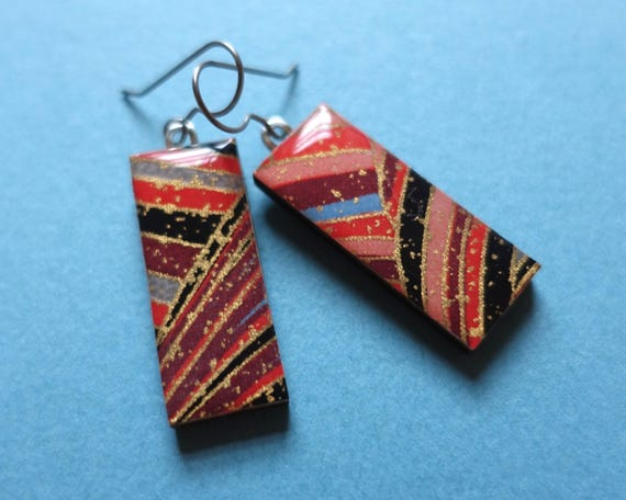 Red earrings, gold earrings, paper earrings, resin earrings, wood earrings, dangle earrings, elegant earrings, evening earrings, japanese