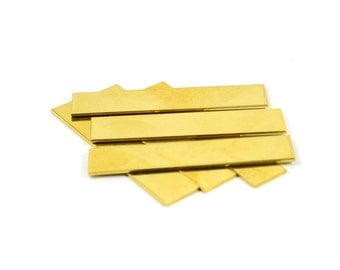 """10 Pcs. Raw Brass Blanks 3/8""""x2"""" -18 Gauge (1 mmThick ) Stamping Blanks (10x50 mm )"""