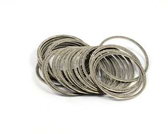 30 Pcs. Antique Silver 31 mm Round Circle Findings