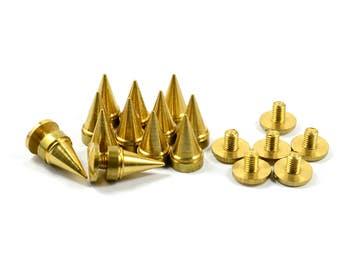 10 Pcs. Solid Brass 7x13 mm Rivet Screw Stud Spike Findings