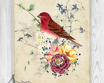 Vintage Bird Wall Art, Vintage Bird and Flowers, Vintage Inspired Bird Decor, Bird Art Print, Art Poster
