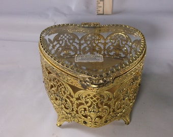 Valentines Day Gift Jewelry Box Antique Vintage Gold Filigree Trinket Casket Ormolu Globe?epsteam