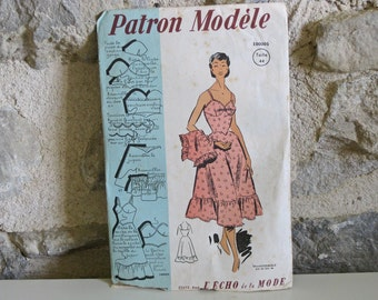 1950s sewing pattern sun top skirt and panties Patron Modele 100005