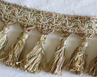 tassel trim in pink and green - 31 meters of unused vintage French braid available