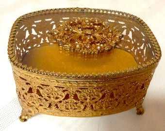 Vintage Gold Ormolu Filigree Jewelery Casket/Box/Velevet Interior/Glass Top/ 4 Feet/ Hollywood Regency/Brass & Glass Trinket Box/