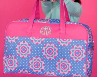 Girls Monogrammed Pink Blue Floral Duffel Bag Personalization Included